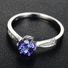 14K White Gold 6mm  Round Tanzanite/Aquamarine/Peridot/Pink Tourmaline/Moissanite Engagement Ring Wedding Ring on Etsy, $239.00