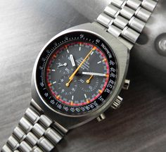 "omegaforums: ""Vintage Omega Speedmaster Mark II With Racing Dial Circa "" Retro Watches, Big Watches, Sport Watches, Vintage Watches, Cool Watches, Simple Watches, Vintage Omega, Vintage Rolex, Omega Speedmaster"