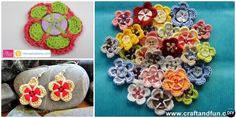 Crochet Button Flower Free Pattern [Video] Crochet flowers using buttons as base, original and creative to hook on for beginners and play for the seasoned