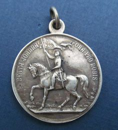 Joan Of Arc On Horse Back Religious Medal Antique Silver Pope Pius X 1909   SS348