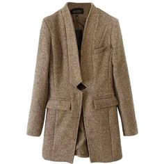 Khaki Stylish Ladies Plain Winter Warm Buttonless Tweed Long Coat (72 CAD) ❤ liked on Polyvore featuring outerwear, coats, pinkqueen, khaki, long tweed coat, khaki coat, long coat, brown coat and brown tweed coat