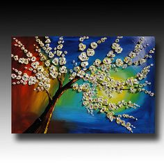 Tree Painting Large Abstract Painting Textured TREE by GoldieK, $199.00