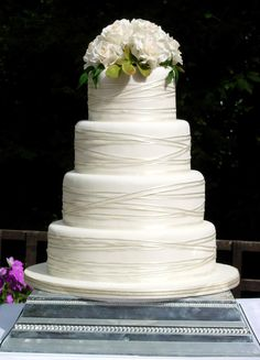 Simply iced with ivory ribbon