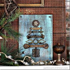 Vintage hardware upcycled Christmas tree. 12 Days of Vintage, Upcycled, Recycled, & Repurposed Christmas decorations on DuctTapeAndDenim.com