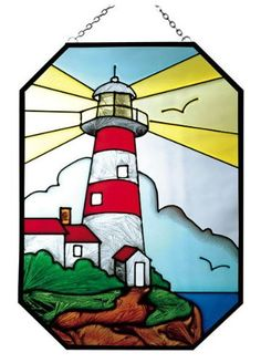 """10"""" OCTAGON Stained ART Glass LIGHTHOUSE Architecture NAUTICAL Panel WINDOW by Silver Creek Industries. $18.99. Measures 7"""" wide x 10"""" high. Ships in 2-10 business days. Proudly made in America!. Zinc-framed, it features a pre-attached chain loop in attractive silver tone.. A best seller! Lighthouses fascinate everyone with their charming architecture, legend and romance, and make this art glass octagon a top seller! Zinc-framed, it features a pre-attached cha..."""