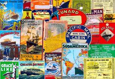 22 pc PAPER COLLECTION, Steamship Posters, Cabin Baggage Labels, Collage Paper Assortment, Ephemera Reproductions, Altered Art Supply, 1003 by retrowallart on Etsy