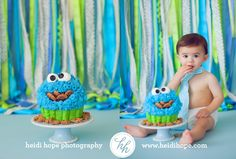 Cake smash cookie monster cake. Love it!
