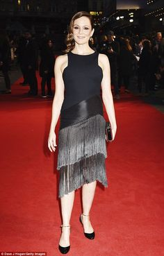 Beautiful in black: Rachael Stirling wowed in a figure-hugging little black dress with an ...