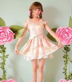 Dress: floral, floral dress, kawaii, sweet, sweet dress, asian ...