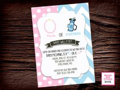 GENDER REVEAL PARTY Pearls or Putters by BlissfulBethDesigns