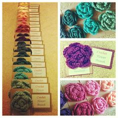 A rainbow of Crochet Flower Brooches: my final craft fair stock item - finally something in decent quantity! These flowers were great to make. Find the pattern here: http://allicrafts.blogspot.co.uk/2012/08/free-pattern-no-sew-rose-large.html)