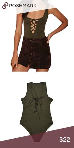 Lace-up Bodysuit 💚 Tank top style criss cross strappy lace-up bodycon one piece. NEW WITHOUT TAGS! Super cute. The straps are thicker than the model's because I think she has a XS on, and the one I have fits Medium best. Looks best on B-cup and larger. Instagram @ kat.btq ! NO BRAND ! Nasty Gal Tops Tank Tops