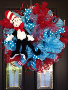 Dr Seuss deco mesh wreath, red and blue deco mesh wreath, Cat in the Hat deco mesh wreath, Wreath by Ileana