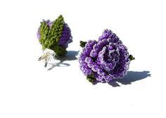 Mini purple rose studs lace earrings Mauve rose by LandofDante