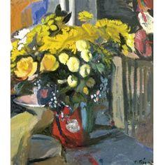 Panayiotis Tetsis (Greek, 1925) Mediterranean Art, Greece Painting, 10 Picture, Greek Art, Art Forms, Fresco, Flower Art, Modern Art, Print Patterns