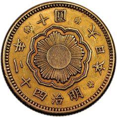 Moneda de Oro Japonesa 10 Yenes