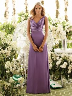 USD$113.99 - V-neck Sleeveless Purple Long Bridesmaid Dress - www.weddingdressbraw.com