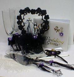 P Nightmare before Christmas Wedding Cake topper Lot Disney glasses, knife, book Jack Sally Halloween