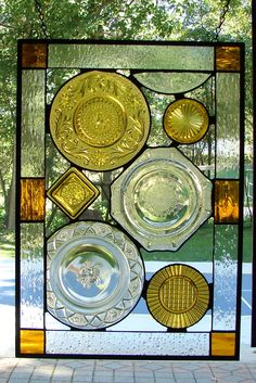 Vintage Crystal Plate panel Ambers by Barbarasstainedglass on Etsy,