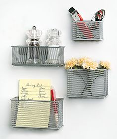 Use these Sets Of 4 Magnetic Mesh Baskets at the office for pens, pencils, markers, notes, receipts and checklists, or use them at home to organize bills, keys, recipes, hair accessories and brushes.  Strong magnets adhere to refrigerator, filing cabinet, etc.