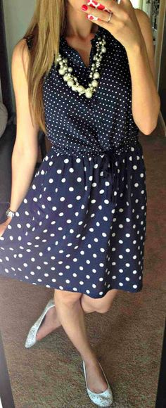all things katie marie: Katie's Closet- polka dot dress with pearls! SO cute!