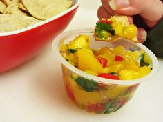 Fruit Cup Salsa  2 4-packs Del Monte Diced Peaches  5-6 oz grape tomatoes, quartered or diced, depending on size  1 mango, peeled and diced  1/4 of red onion, finely diced  1 jalapeno, seeds and insides discarded and finely diced  1 bunch cilantro, leaves finely chopped  Salt