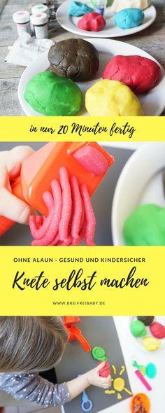 Knete selber machen Rezept - so leicht und schnell kannst du zusammen mit deinen Kindern Knete herstellen ohne Kochen. Unsere Knete ist ohne Alaun und ohne Kochen.  #knete #diy