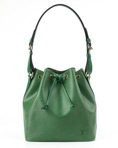 "LOUIS VUITTON c.1997 ""Petit Noe"" Green Epi Leather Drawstring Shoulder Bag Purse 