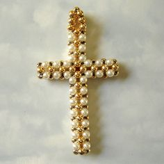 vintage gold and pearl woven beads cross pendant by smallandmousey, $8.50