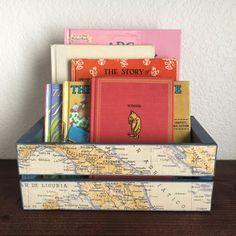 Nautical Nursery Storage Box World Traveler Nursery Old Italy Map Travel Inspired Nursery Navy Wooden Crate Storage Bin Nautical Playroom