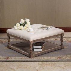 Cairona Cream Tufted Fabric 34-inch Shelved Ottoman