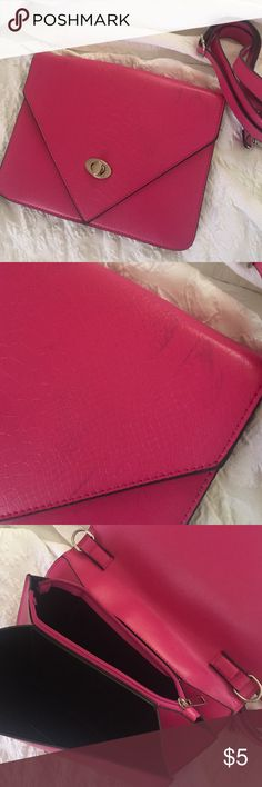 Plum Envelop Bag Blue stains as pictured , color scratch off on the inner clasp but does not effect the overall look, also available in Orange Bags Clutches & Wristlets