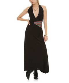 This Black Contrast Panel Halter Maxi Dress by Demoda is perfect! #zulilyfinds
