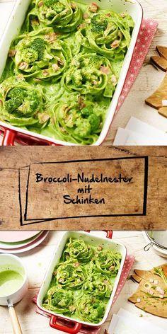 Schön anzuschauen und genauso gut im Geschmack - das sind unsere Broccoli-Nudelnester, die mit saftigem Schinken und grüner Tagliatelle zubereitet werden. Nachdem du die Nester in Form gebracht hast, werden sie noch im Ofen überbacken. Schmeckt köstlich!