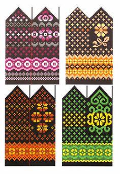 Вязание шапок, шарфов и других аксессуаров: Цветные орнаменты для варежек Crochet Mittens Free Pattern, Knit Mittens, Knitted Gloves, Knitting Socks, Knitting Charts, Knitting Stitches, Knitting Patterns, Graph Paper Art, Chart Design