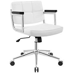 kenamp: Office chair white leather White Task Modern Contemporary Urban Design Work Home Office Mid Back Office Chair White Faux Leather Walmart White Office Chairs Home Depot, White Office, White Vinyl, Swivel Chair, Desk Chair, White Leather, Modern Contemporary, Steel Frame, Eames Chairs