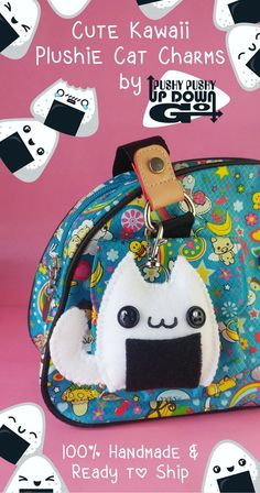 Kawaii Onigiri Rice Ball Cat Plush Keychain & Food Bag Charm, Kawaii Onigiri Keychain, Kawaii Food Bag Charm Accessories  #cats #caturday #catlover #catlady #charms #keychain #neko #cute #kawaii #kawaiicharms #cuteanimals #plushie #stuffedanimal #kawaiifood #onigiri #riceball #japanesefood #otaku