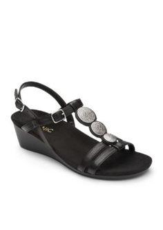 Orthaheel Women's Noleen T-Strap Demi Wedge - Black ...
