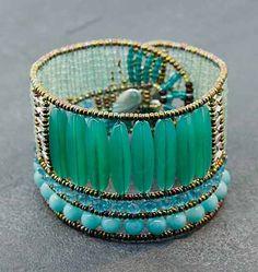 "Ziio Rock Green Bracelet - Sterling silver, Amazonite, aventurine, onyx and Murano glass bead Rock Green bracelet. 8"" in length by 1 3/4"" wide."