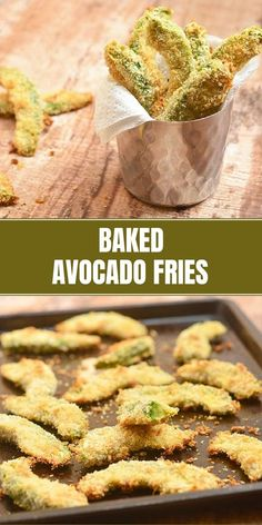 Healthy Snacks Baked Avocado Fries for a healthier snack option! Creamy, buttery, and crispy, they're seriously addicting! Check out the recipe on how you can easily turn them into gluten-free or keto-friendly with one single swap of ingredient! Baked Avocado Fries, Avocado Toast, Keto Avocado, Avocado Salad, Baked Stuffed Avocado, Avacado Snacks, Avocado Dessert, Gourmet Recipes, Zucchini