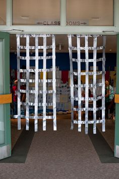 Great for medieval castle fantasy play or even a jail. Lay out a long strip of duct tape- sticky side up. Carefully place another piece (sticky sides together) over. Make several of these. Then lay...