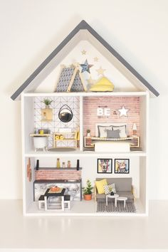 Little House Star This is a unique, handmade, modern doll house . - Little House Star This is a unique, handmade, modern dollhouse in scale … – - Modern Dollhouse Furniture, Wooden Dollhouse, Wooden Dolls, Diy Dollhouse, Doll Furniture, Plywood Furniture, Miniature Furniture, Girls Dollhouse, Bedroom Furniture