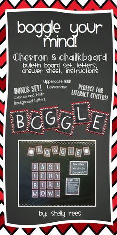Boggle- Chevron and Chalkboard - Bulletin Board and Letter Set.  Includes instructions, letters (2 styles!), answer recording sheet, ideas for use.  Perfect for a year-long bulletin board (just change the letter grid each week) or a literacy center!  Fun and educational!