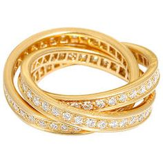 Cartier Trinity Diamond Gold Band Ring