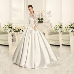 >> Click to Buy << vestido de casamento longo Three Quarter Sleeves Lace Appliqued Pleated Satin Keyhole Back Wedding Dress 2017 #Affiliate