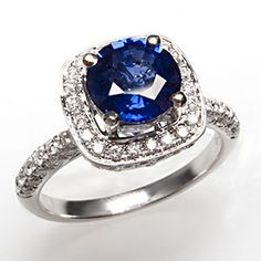 Natural Blue Sapphire & Diamond Halo Engagement Ring Solid 18K White Gold Estate   eBay