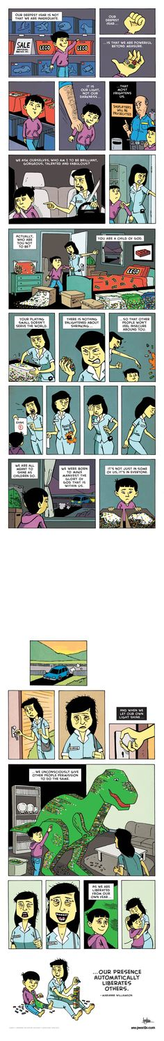 Zen Pencils – Marianne Williamson: Our Deepest Fear Cute Comics, Funny Comics, Marianne Williamson, Comics Story, Faith In Humanity Restored, Short Comics, Short Stories, Sad Stories, Comic Strips