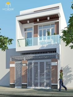 3 Storey House Design, House Front Design, Design Your Dream House, Small House Design, Narrow House Designs, Narrow Lot House Plans, Balcony Glass Design, Modern Villa Design, Townhouse Designs