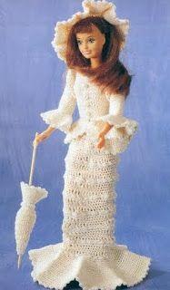 Pontos e Ideias: Vestidos para a boneca Barbie em crochê