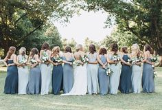 Bridesmaid dress shades - Jenny Yoo bridesmaids, various long luxe chiffon styles in mismatched shades of blue This mix n matchbridal party look is unique, modest yet playful with flutter sleeves, v necklines, halter neckline Dusty Blue Bridesmaid Dresses, Bridesmaids And Groomsmen, Wedding Bridesmaids, Bridesmaid Outfit, Bouquet Wedding, Wedding Dress Shopping, Wedding Dresses, Bride Dresses, Chiffon